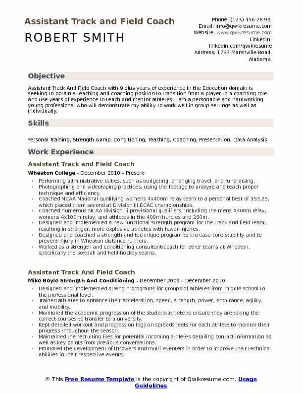 assistant track and field coach resume samples qwikresume example pdf english grammar big Resume Track And Field Resume Example