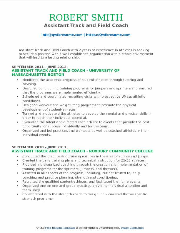 assistant track and field coach resume samples qwikresume example pdf exceptional Resume Track And Field Resume Example