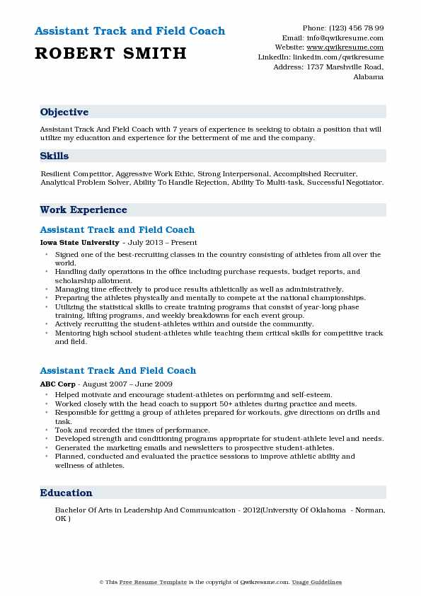 assistant track and field coach resume samples qwikresume example pdf good objective Resume Track And Field Resume Example