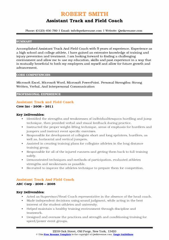 assistant track and field coach resume samples qwikresume example pdf totally free Resume Track And Field Resume Example
