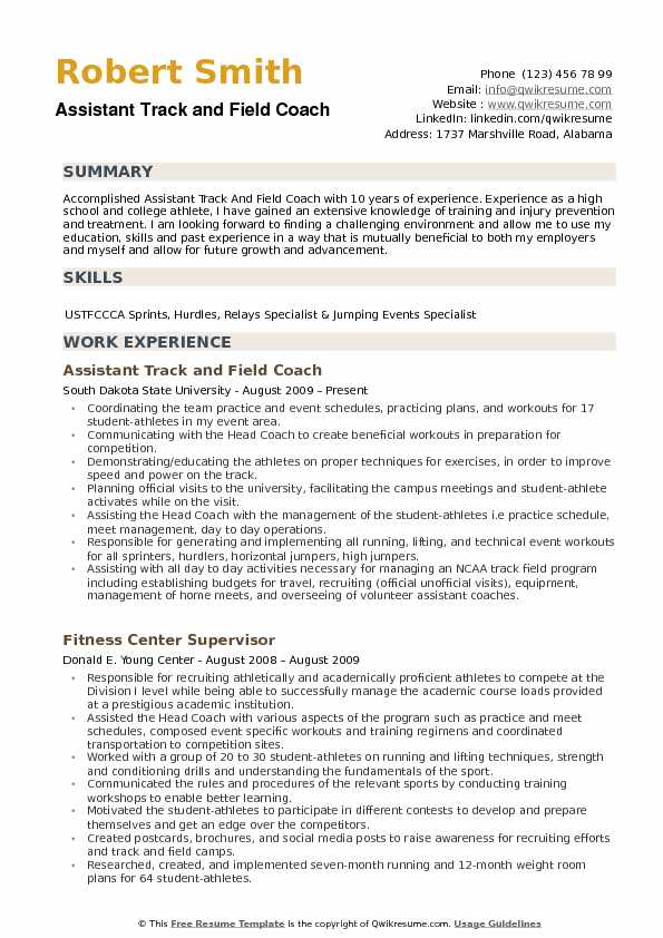 assistant track and field coach resume samples qwikresume sample pdf college scholarship Resume Assistant Coach Resume Sample