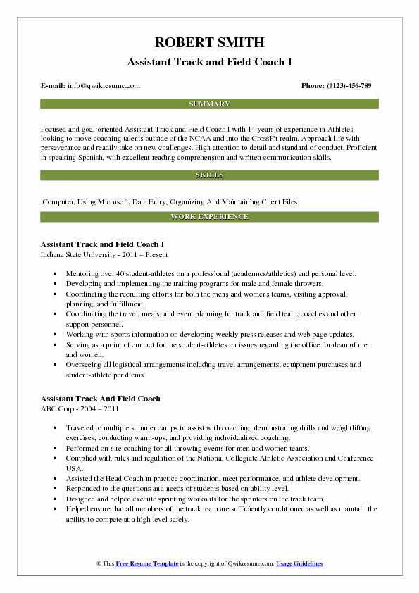 assistant track and field coach resume samples qwikresume sample pdf impressive titles Resume Track And Field Resume Sample