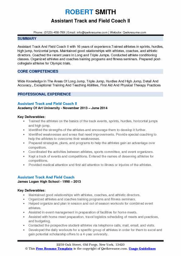 assistant track and field coach resume samples qwikresume sample pdf objective for Resume Track And Field Resume Sample