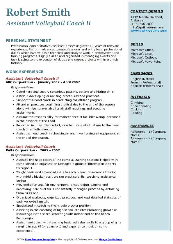 assistant volleyball coach resume samples qwikresume pdf nursing pros examples google Resume Assistant Volleyball Coach Resume