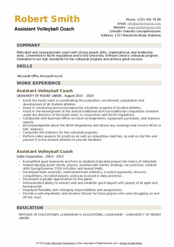 assistant volleyball coach resume samples qwikresume pdf nursing pros psw qualifications Resume Assistant Volleyball Coach Resume
