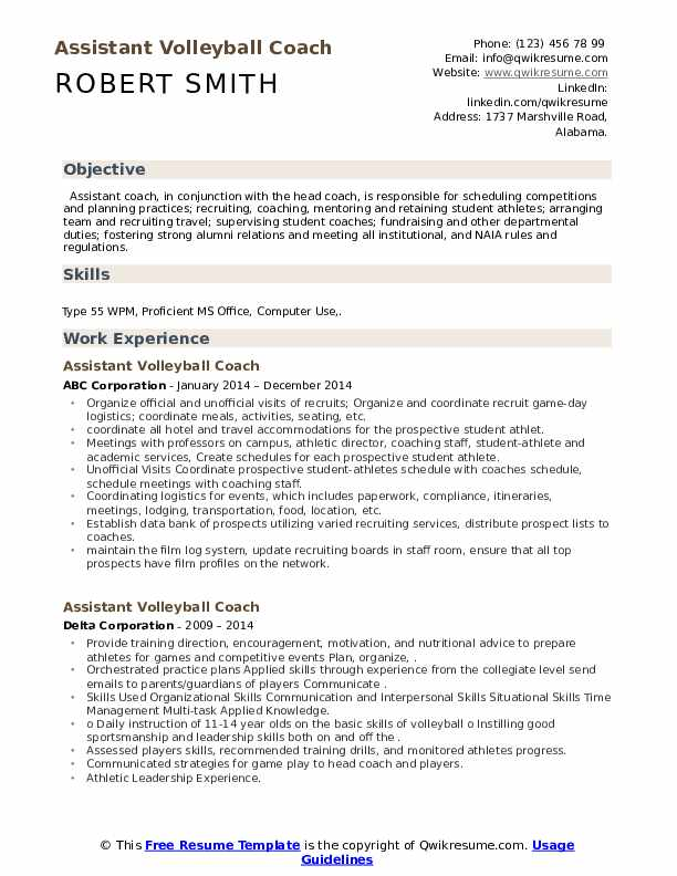 assistant volleyball coach resume samples qwikresume pdf whats good objective for retail Resume Assistant Volleyball Coach Resume