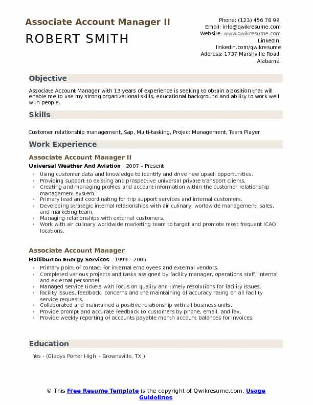 associate account manager resume samples qwikresume job description pdf work summary Resume Manager Job Description Resume