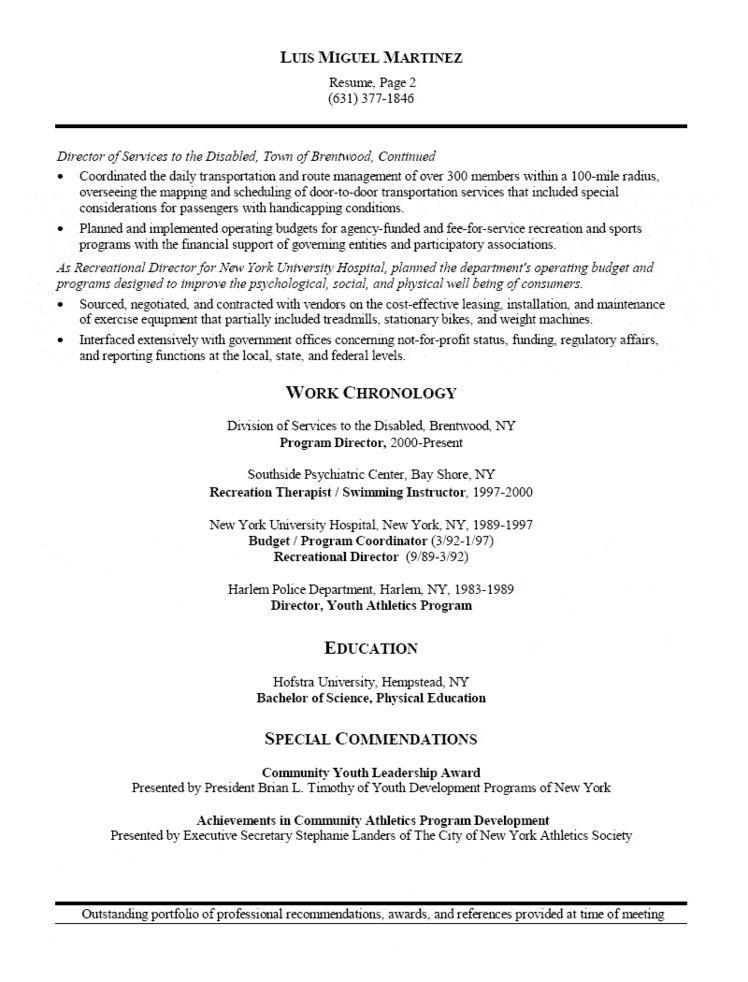 athletic director and facility manager resume recreation ats compliant office coordinator Resume Recreation Manager Resume