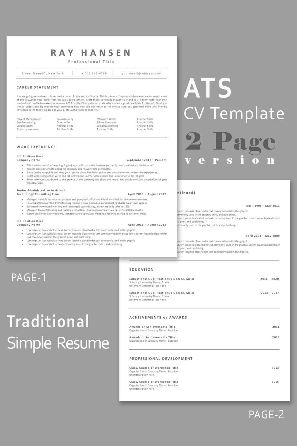 ats compatible resume template applicant tracking system etsy in functional design Resume Applicant Tracking System Friendly Resume