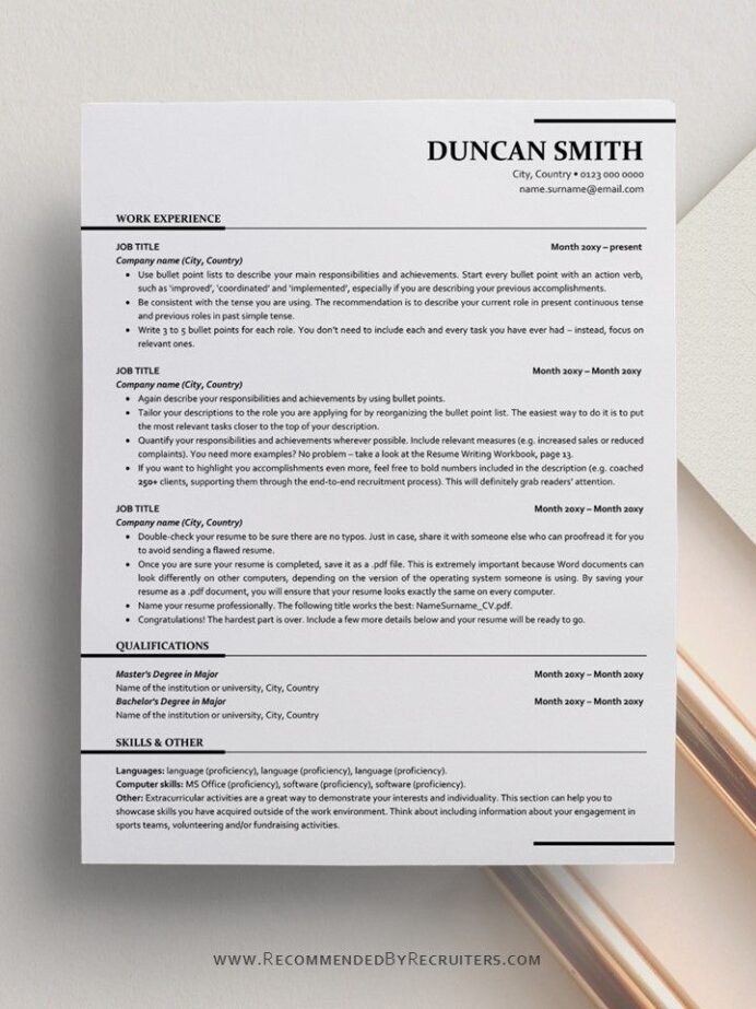 ats friendly resume template instant one and two etsy in templates free word applicant Resume Applicant Tracking System Friendly Resume