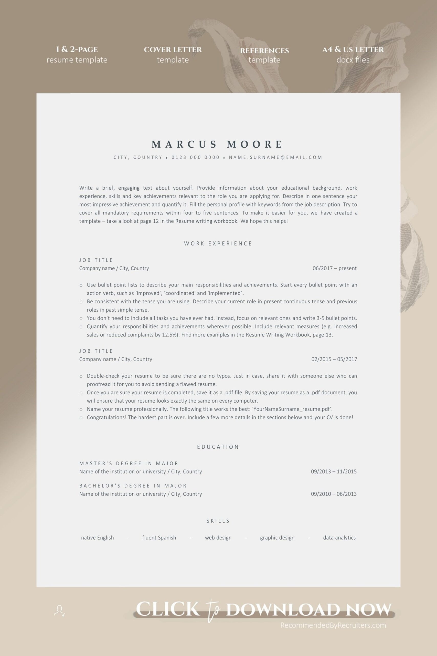 ats resume template for word instant friendly etsy in design professional applicant Resume Applicant Tracking System Friendly Resume
