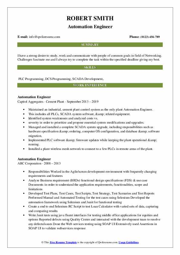 automation engineer resume samples qwikresume pdf cleaner job description for create on Resume Automation Engineer Resume
