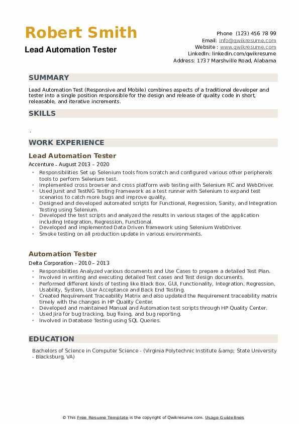 automation tester resume samples qwikresume pdf self summary for sample scheduler Resume Automation Tester Resume