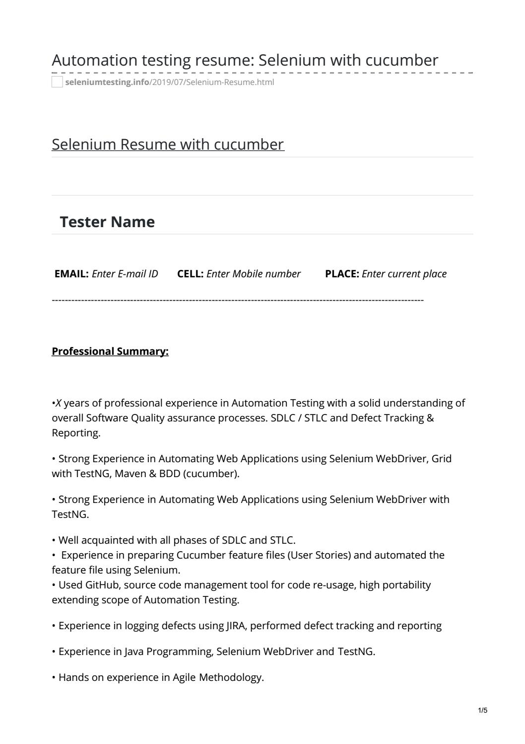 automation testing resume selenium with cucumber by manish dangwal issuu tester sample of Resume Automation Tester Resume