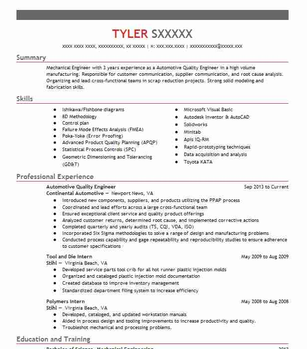 automotive quality engineer resume example livecareer objective good introduction for Resume Quality Engineer Resume Objective