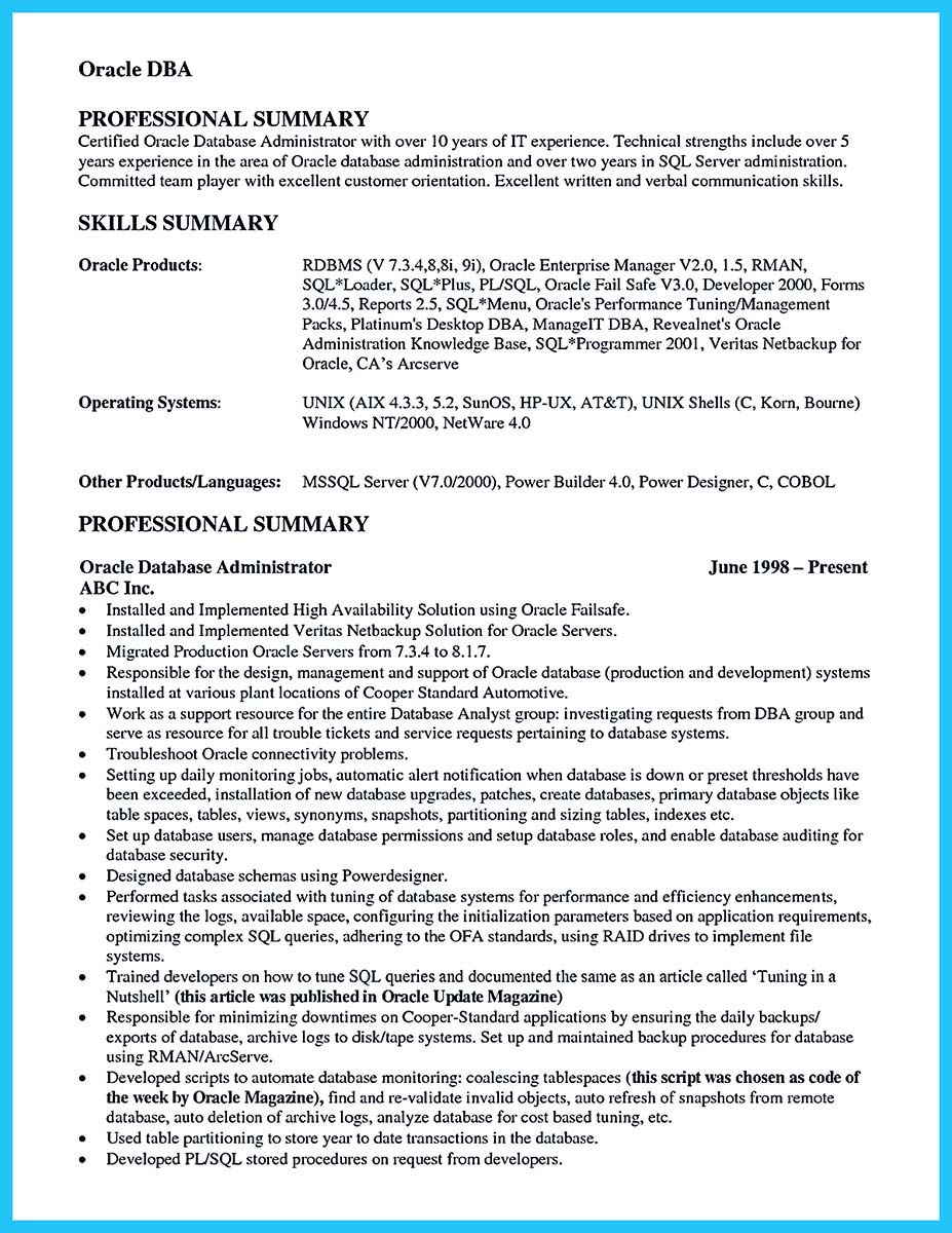 awesome high impact database administrator resume to get noticed easily check more at Resume Netbackup Administrator Resume