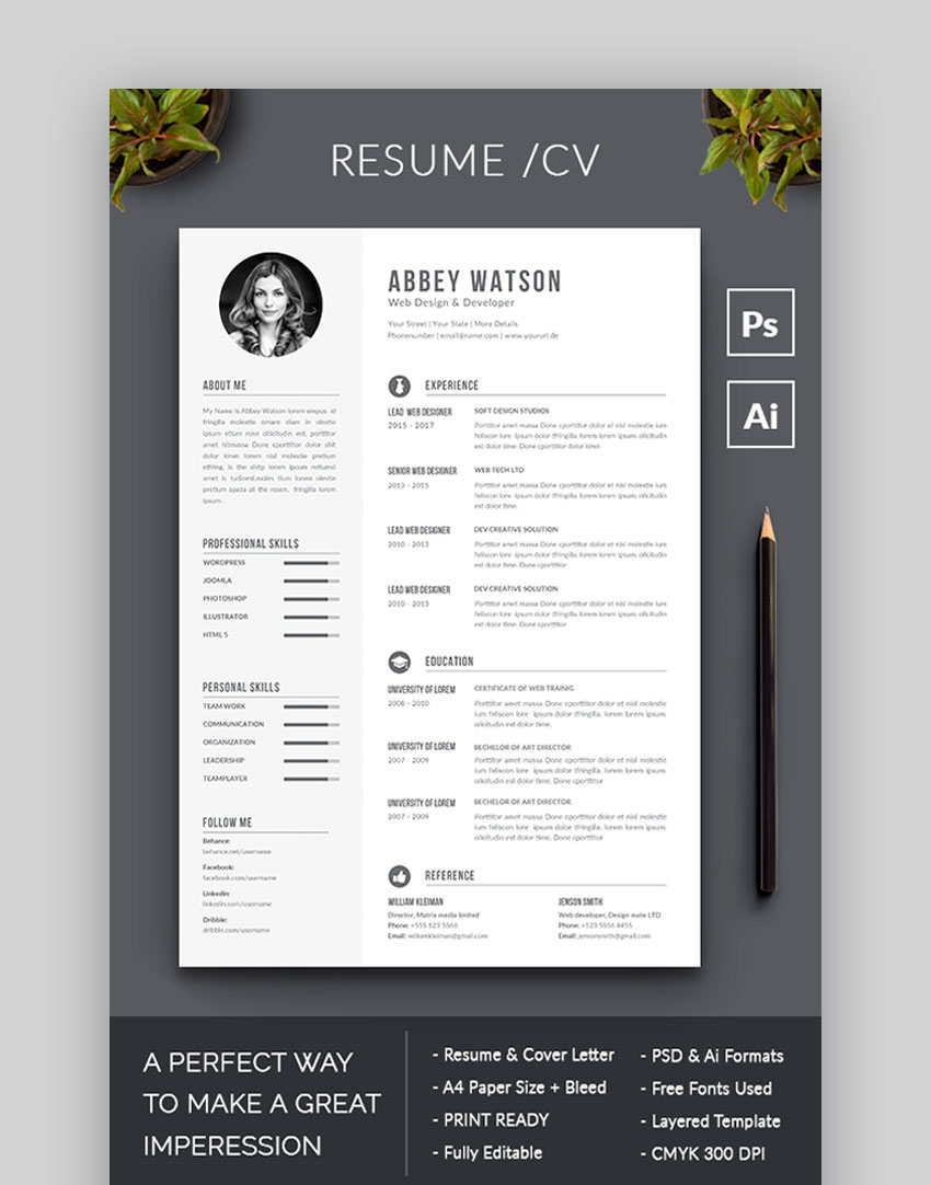 awesome resume cv templates with beautiful layout designs paper size for and application Resume Paper Size For Resume And Application Letter