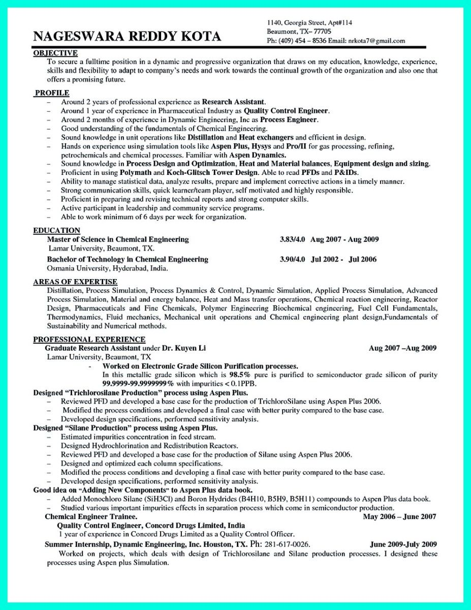 awesome successful objectives in chemical engineering resume job examples for industry Resume Resume For Chemical Industry