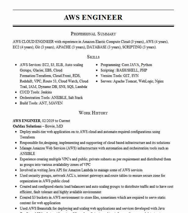 aws engineer resume example airlines naperville for year experience cisco ise of Resume Aws Resume For 1 Year Experience