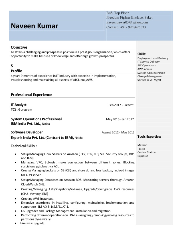 aws naveen resume for year experience collection specialist cisco ise corrections Resume Aws Resume For 1 Year Experience