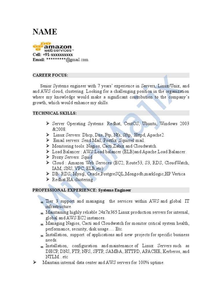 aws sample resume web services distributed computing architecture for year experience Resume Aws Resume For 1 Year Experience