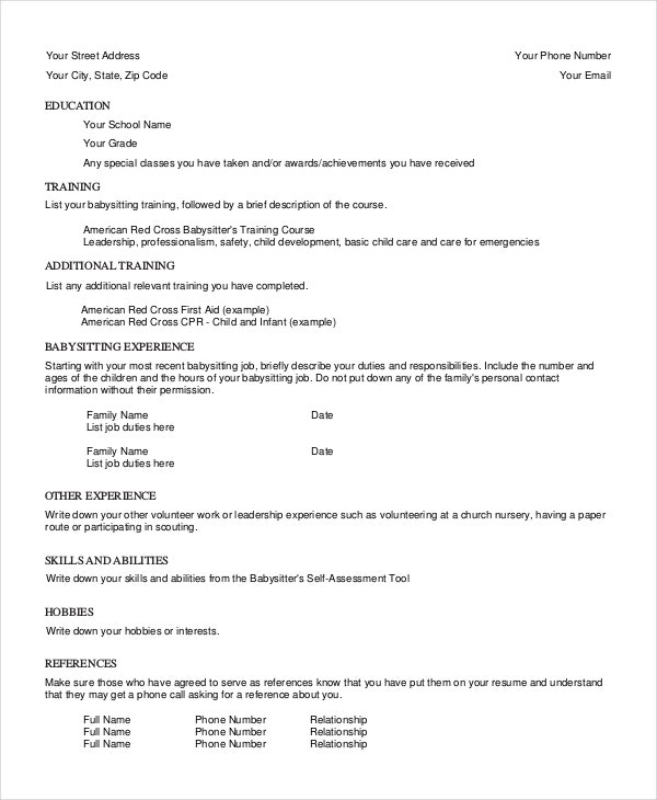 babysitter resume template free word pdf documents premium templates duties of for Resume Duties Of Babysitter For Resume