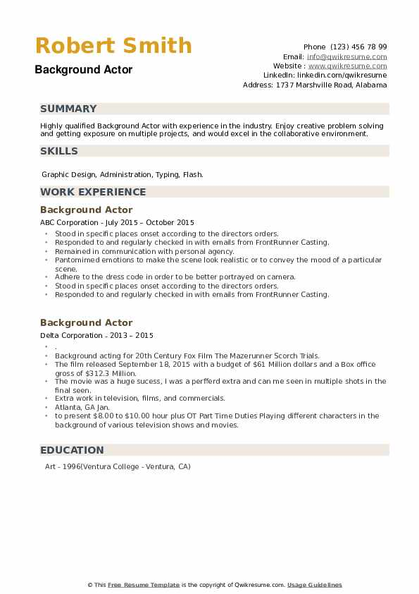 background actor resume samples qwikresume examples of special skills for acting pdf Resume Examples Of Special Skills For Acting Resume