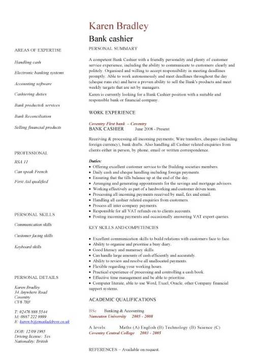 bank cashier cv sample excellent to communication skills banking resume word format pic Resume Cashier Resume Word Format