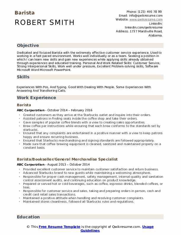 barista resume samples qwikresume objective for experienced pdf public policy sample Resume Resume Objective For Experienced