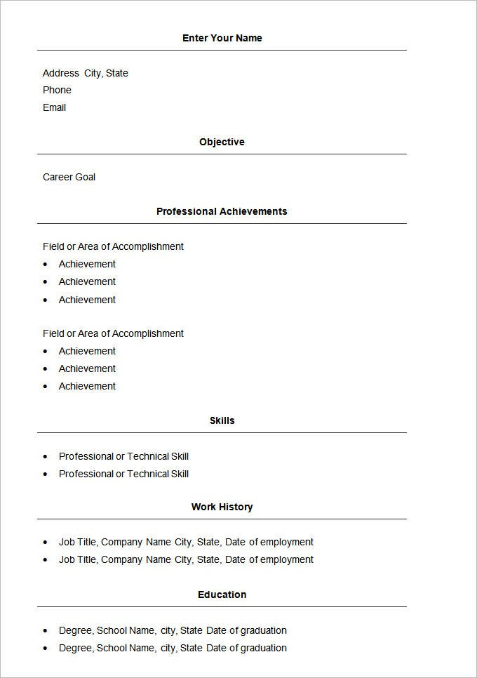 basic resume templates pdf free premium simple template word writing objective examples Resume Simple Resume Template Free Download