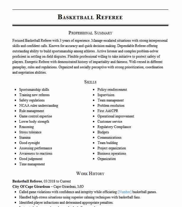basketball referee resume example chantilly youth association herndon job description Resume Referee Job Description Resume