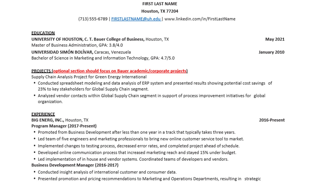bauer mba and ms resume template rockwell career center college of business at the Resume Uh Career Services Resume