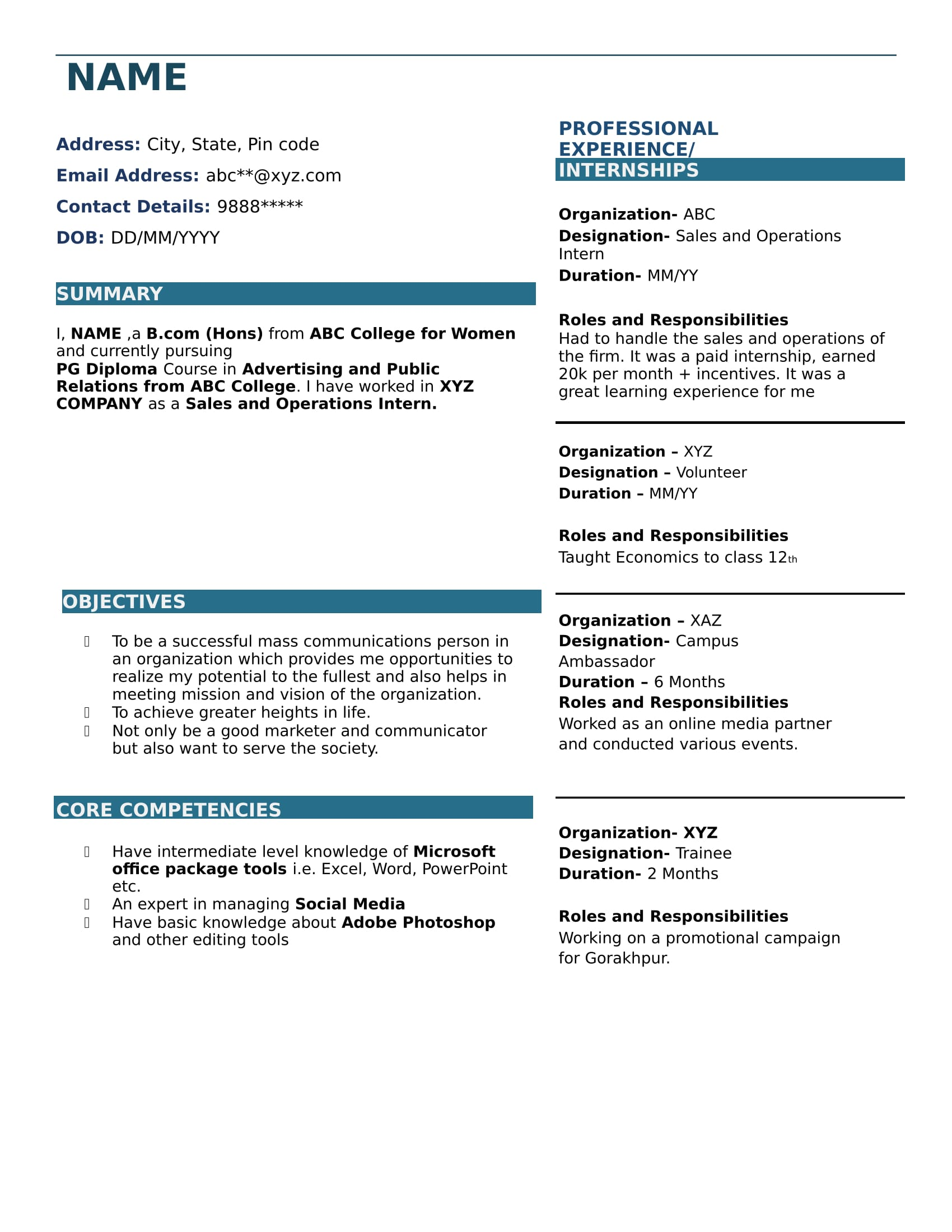 bcom student resume format pdf best examples standard for freshers upgrade your sjsu Resume Standard Resume Format For Freshers