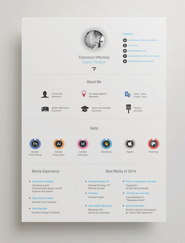 beautiful free resume cv templates in indesign formats on adobe illustrator personal best Resume Resume On Adobe Illustrator