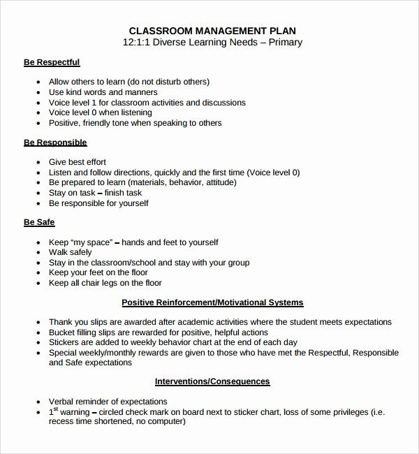 behavior plan template for elementary students fresh best ma classroom management on Resume Classroom Management On Resume