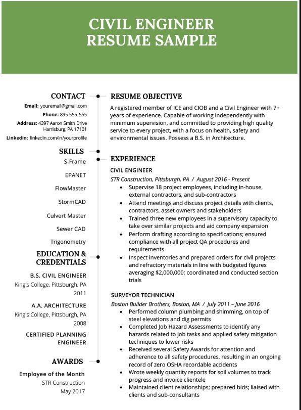 being civil engineering graduate should my resume look like quora for fresher Resume Resume For Fresher Environmental Engineer