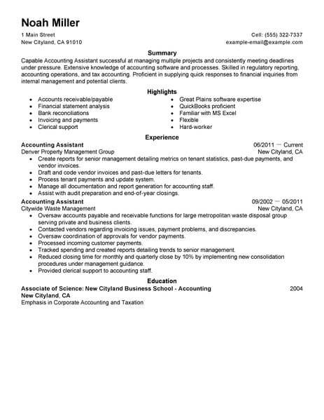 best accounting assistant resume example livecareer sample manager finance accounts space Resume Sample Resume Assistant Manager Finance & Accounts