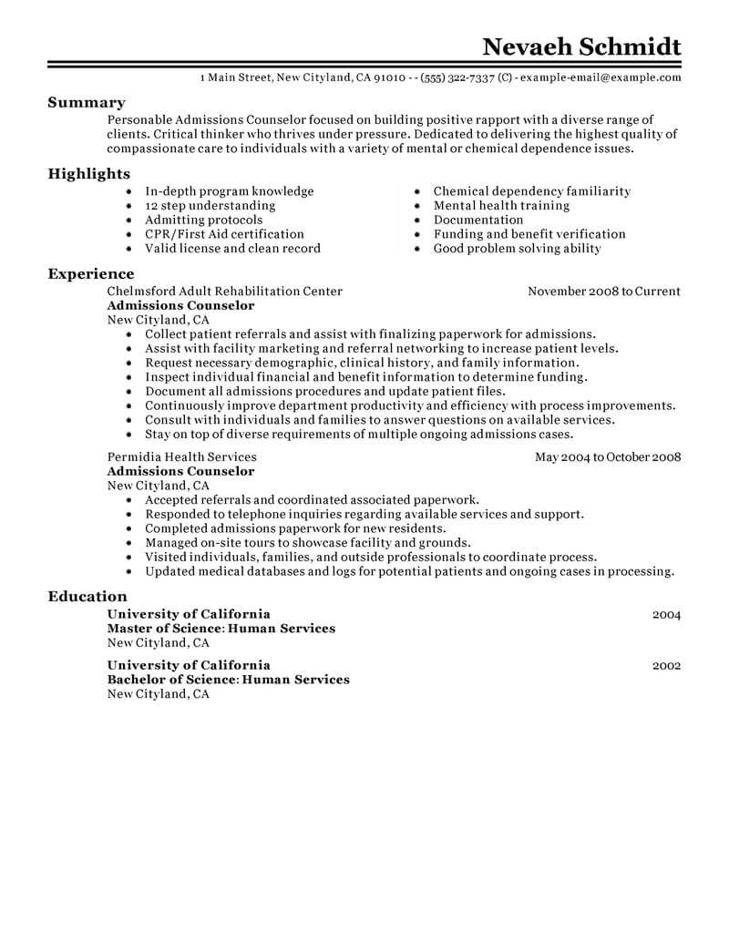 best admissions counselor resume example livecareer job description social services Resume Counselor Job Description Resume