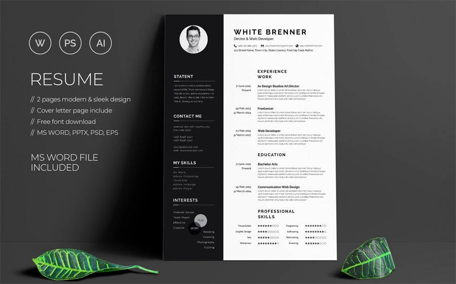best creative resume cv templates printable free photoshop minimal brenner template Resume Free Resume Photoshop Templates