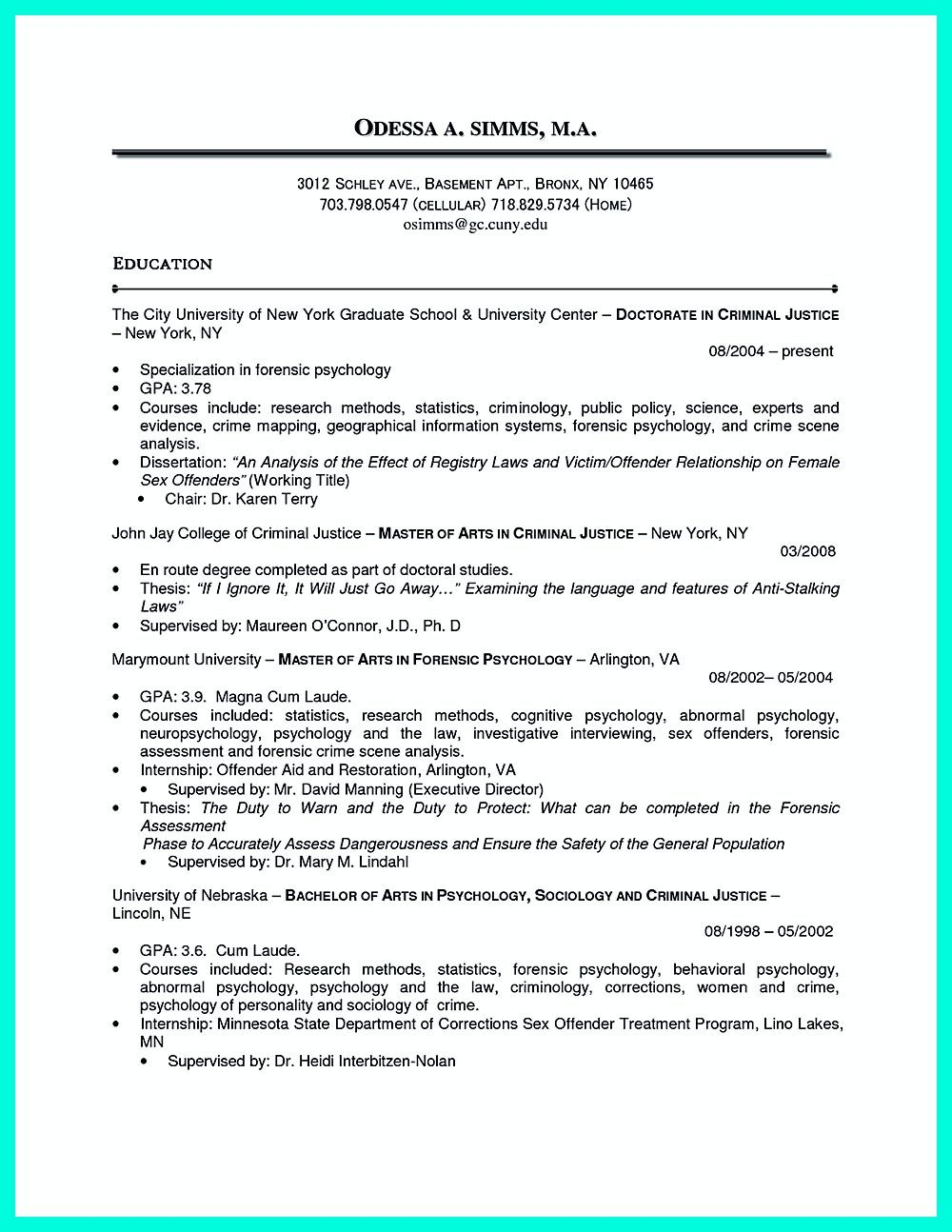 best criminal justice resume collection from professionals chronological examples Resume Criminology Objective Resume
