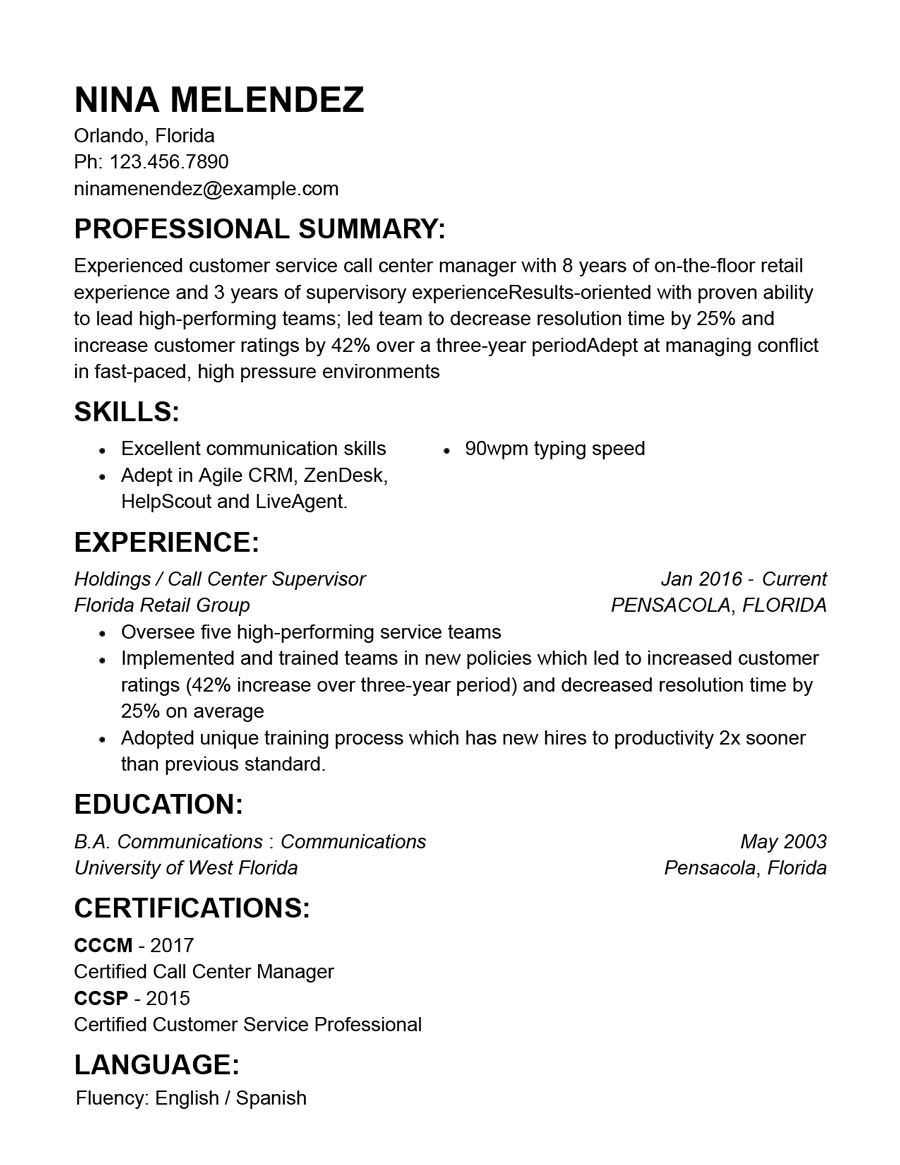 best customer service resume templates with examples overview combination accounting Resume Customer Service Resume Overview