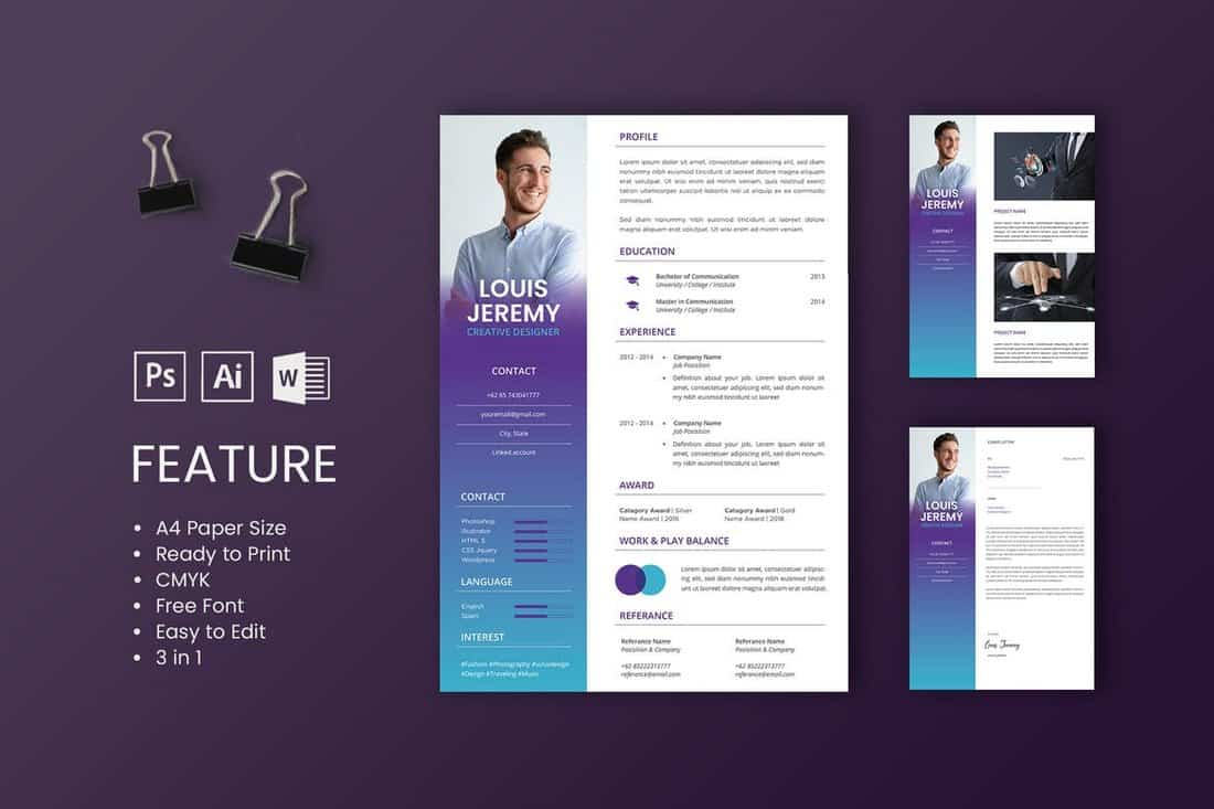 best cv resume templates design shack free graphic template word louis professional and Resume Free Graphic Design Resume Template Word