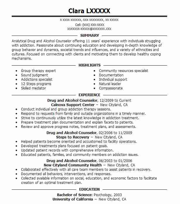 best drug and alcohol counselor resume example livecareer substance abuse templates Resume Substance Abuse Counselor Resume Templates