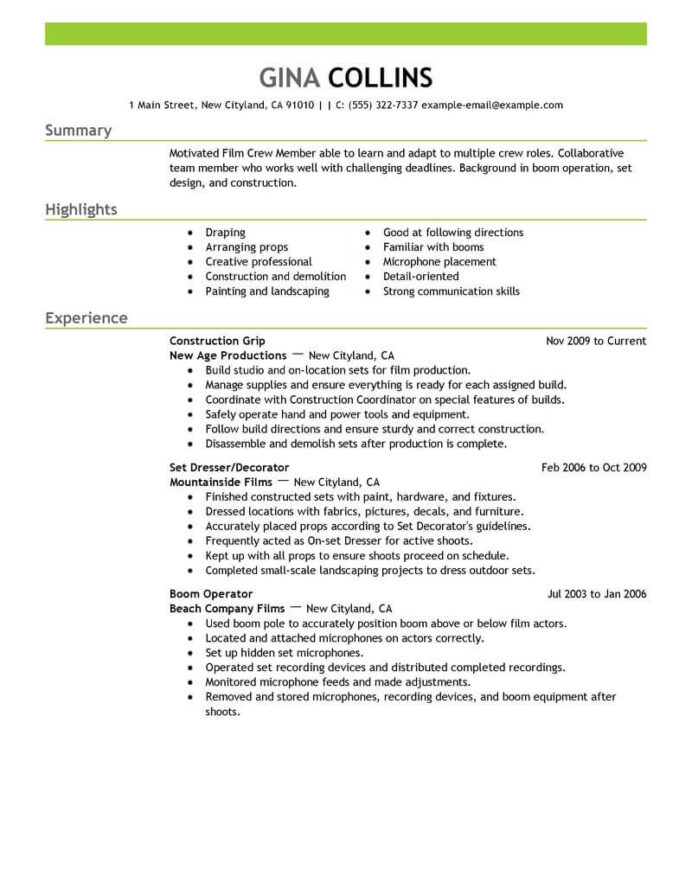 best film crew resume example livecareer industry format media entertainment emphasis for Resume Film Industry Resume Format