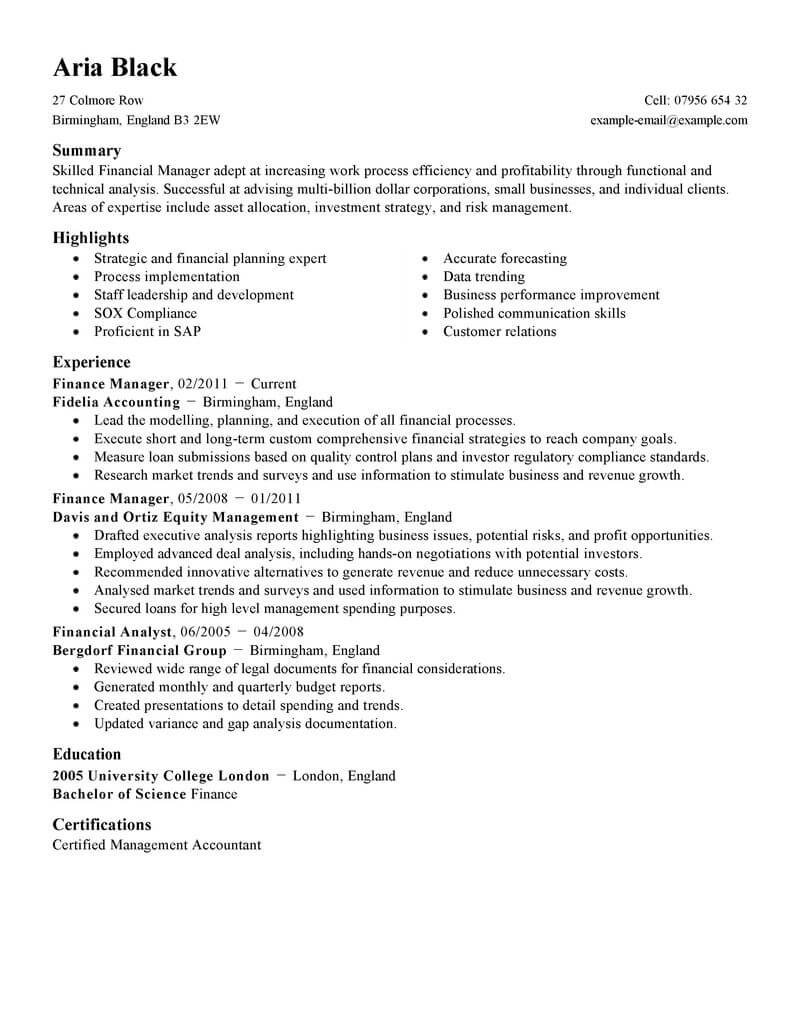 best finance manager resume example livecareer summary examples for standard simple Resume Resume Summary Examples For Finance