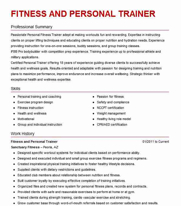 best fitness and personal trainer resume example livecareer for gym job mit mba license Resume Resume For Gym Trainer Job