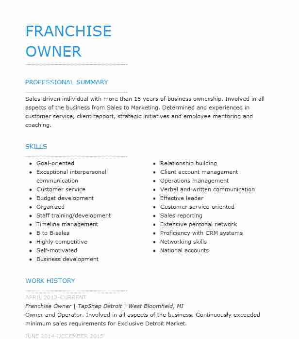 best franchise owner resume example livecareer for owning your own business seo Resume Resume For Owning Your Own Business