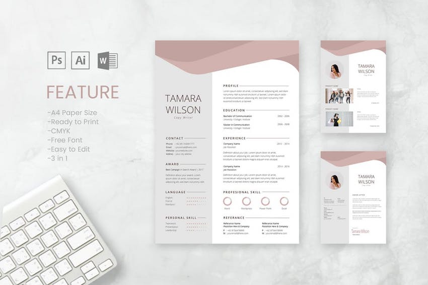 best free microsoft word resume cv cover letter templates matching and template tamara Resume Free Matching Cover Letter And Resume Templates