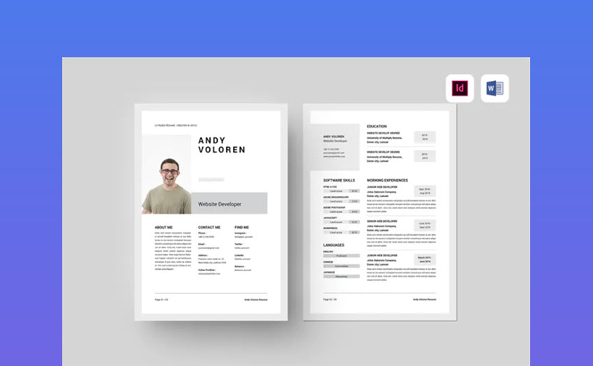 best free ms word resume cv templates for mac two template planet validator auto Resume Two Page Resume Template Word