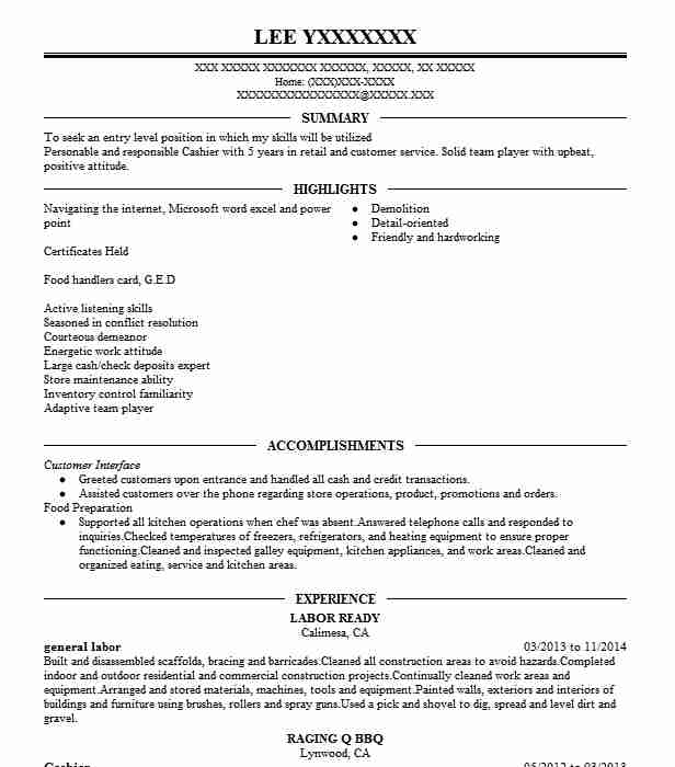 best general labor resume example livecareer entry level objective anu cover letter for Resume General Entry Level Resume Objective